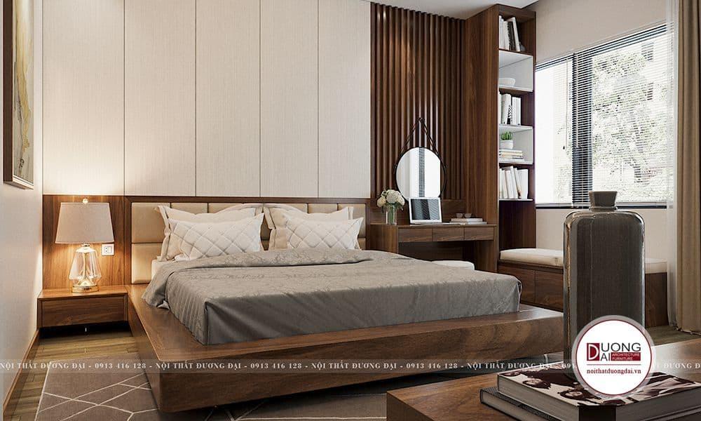 Phong cách hiện đại sử dụng nội thất tone màu nâu gỗ là chủ yếu. Phòng ngủ master cũng thiết kế trên nền màu trung tính, sắc màu nghiêng về những yếu tố ấm áp, sang trọng đem lại cảm giác dễ chịu, thư thái.