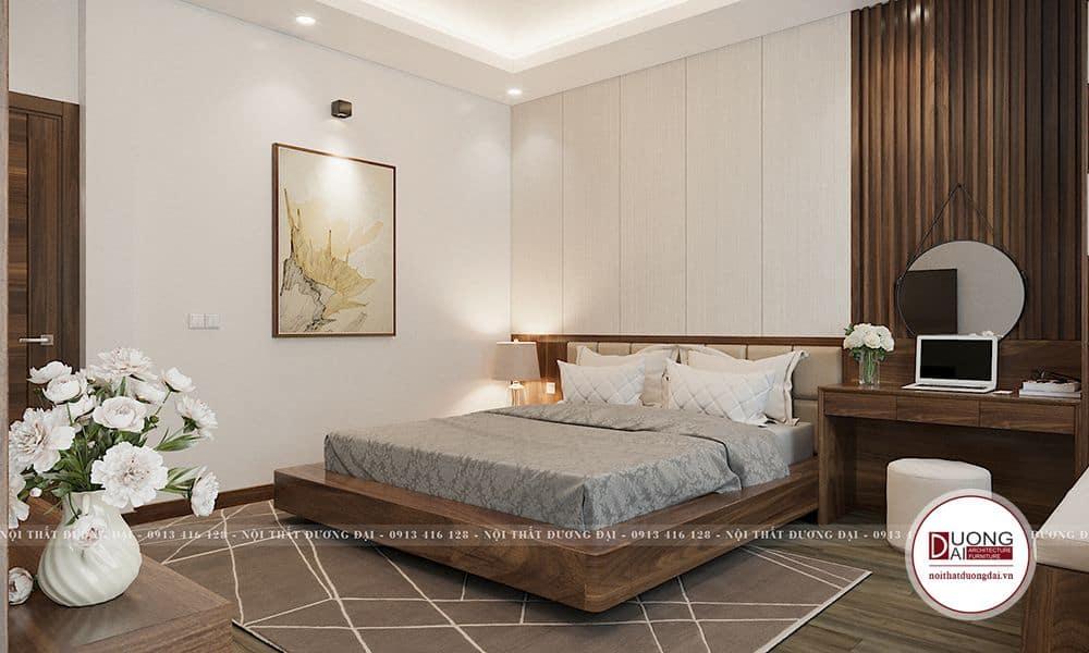 Phòng ngủ được thiết kế với không gian yên tĩnh, hài hòa.