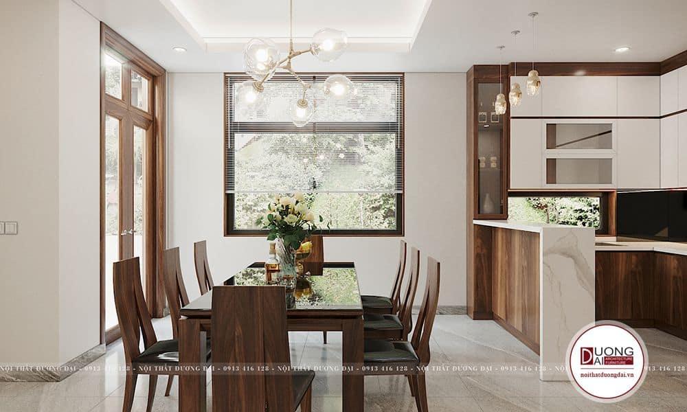 Bộ bàn ăn được làm bằng gỗ sồi tự nhiên, hình dáng mềm mại cho không gian thêm phần sang trọng.
