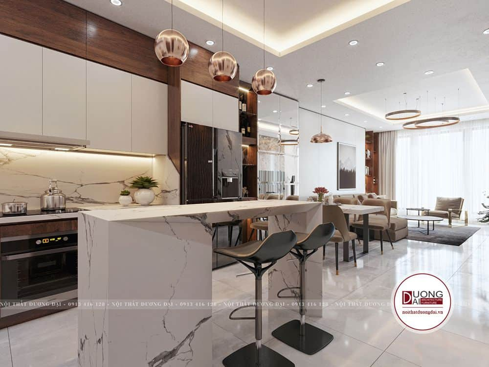 Phòng bếp liên thông với phòng khách, tạo cảm giác rộng rãi và tối ưu diện tích