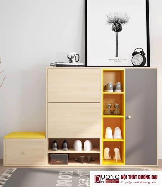 Thiết kế tủ giày gỗ công nghiệp liền ghế đầy hiện đại và tiện nghi
