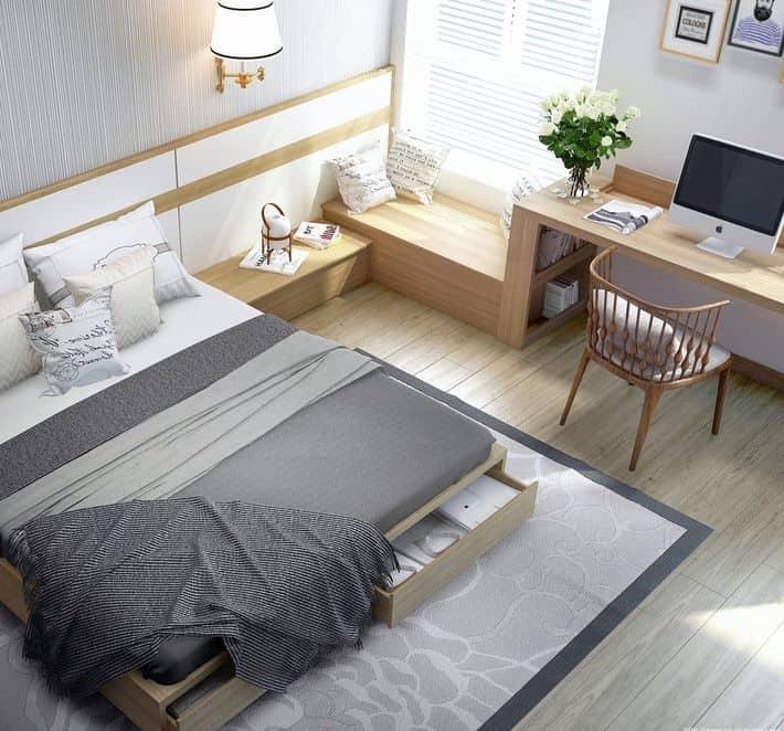 Phòng ngủ của con thiết kế hiện đại với giường, tủ, bàn học thông minh kết hợp ngăn kéo, tạo thuận tiện trong sinh hoạt và tiết kiệm được diện tích