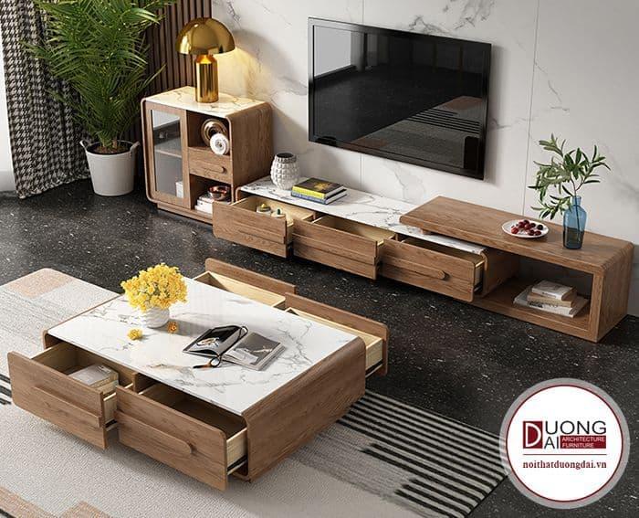 Mẫu bàn sofa vuông có 4 ngăn kéo lớn đầy tiện nghi và khoa học