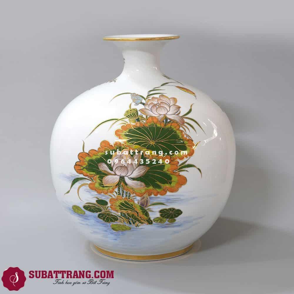 Bình Hút Tài Lộc Vẽ Vàng Bát Tràng Chim Công Mẫu Đơn - SBT120034