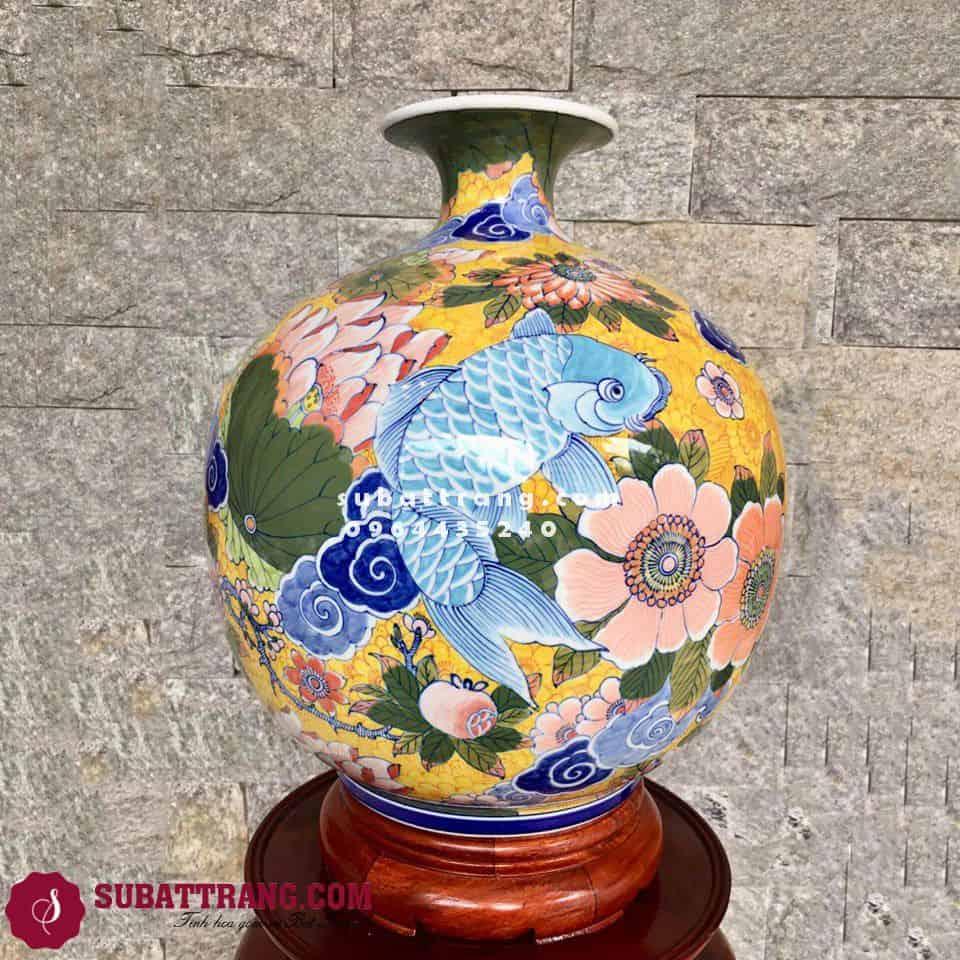 Bình Hút Tài Lộc Bát Tràng Cá Chép Liên Hoa Cao 35cm- SBT120047