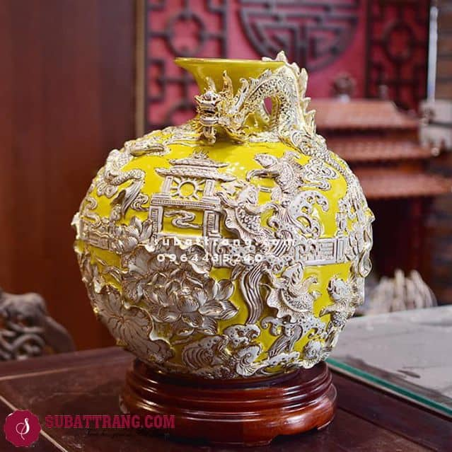 Bình Hút Tài Lộc Bát Tràng Cá Chép Hoá Rồng Trắng Vẽ Vàng Cao 40cm - SBT120010