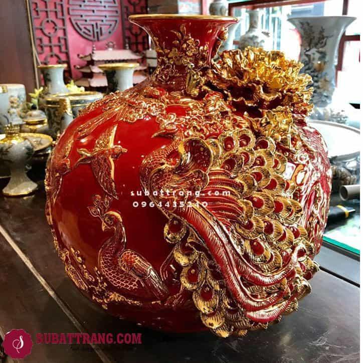 Bình Hút Tài Lộc Gốm Bát Tràng Công Đào Vẽ Vàng Cao 35cm - SBT120016