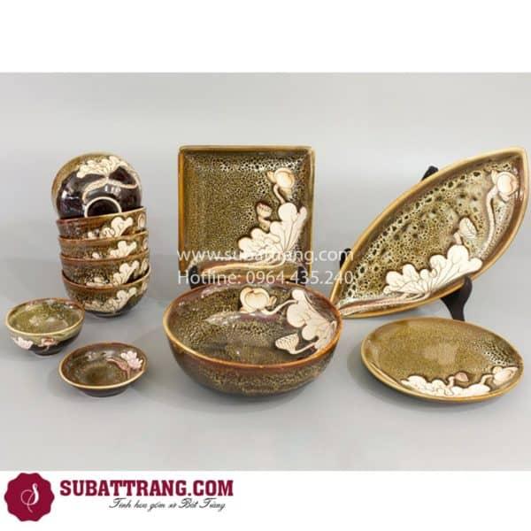 Bộ Đồ Ăn Men Gấm Vàng Khắc Sen - SBT60065