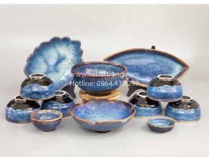 Bộ Đồ Ăn Men Hỏa Biến Xanh Đá (Ocean Blue) - SBT60059