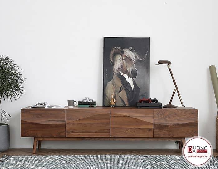Tủ gỗ óc chó giá bao nhiêu với trang trí sang trọng với thiết kế sóng lượn mềm mại
