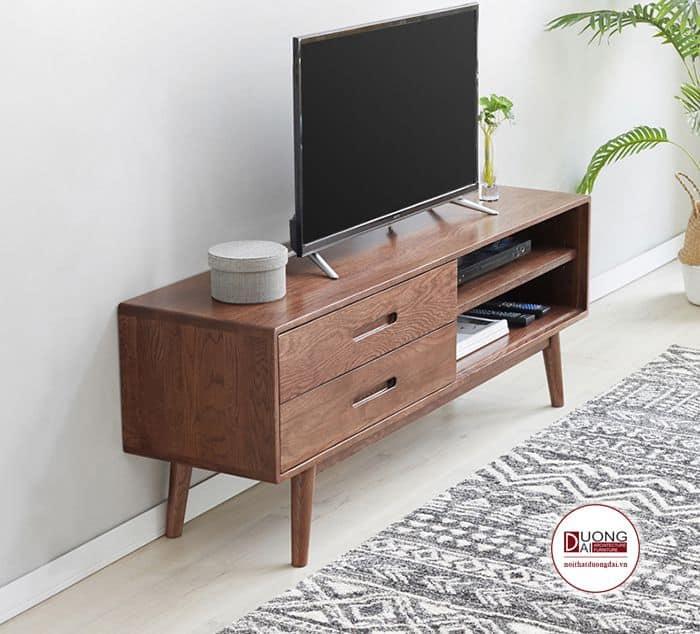 Tủ tivi nhỏ gọn và hiện đại với chất liệu gỗ óc chó
