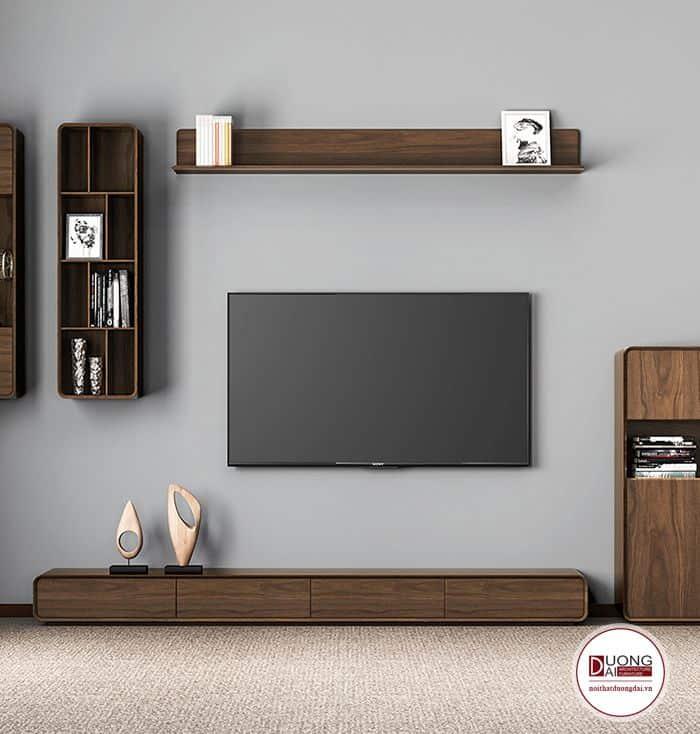 Thiết kế kệ tivi siêu nhỏ gọn cùng kệ trang trí phòng khách chung cư