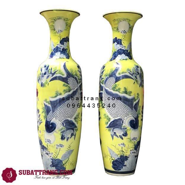Lọ Lộc Bình Bát Tràng Lý Ngư Vọng Nguyệt Men Vàng Vẽ Kỹ 1m4 - SBT70048
