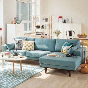 Sofa góc bọc nỉ - Nét tươi mới trải đầy không gian phòng khách.