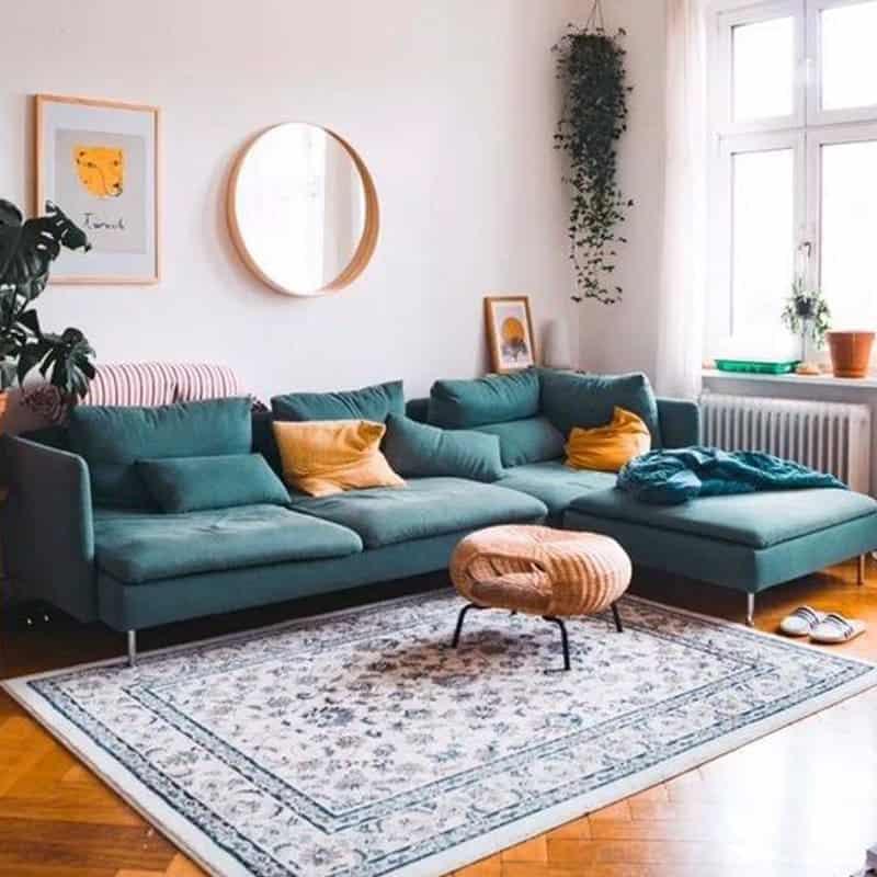 Sofa góc nỉ đẹp - Không gian phòng khách ngập tràn màu sắc và nghệ thuật.