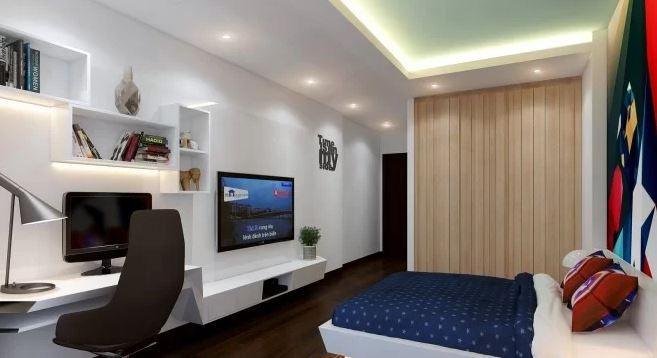 Phòng ngủ tràn đầy công năng, màu sắc.