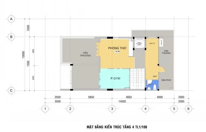 Mặt bằng bố trí kiến trúc tầng 4.
