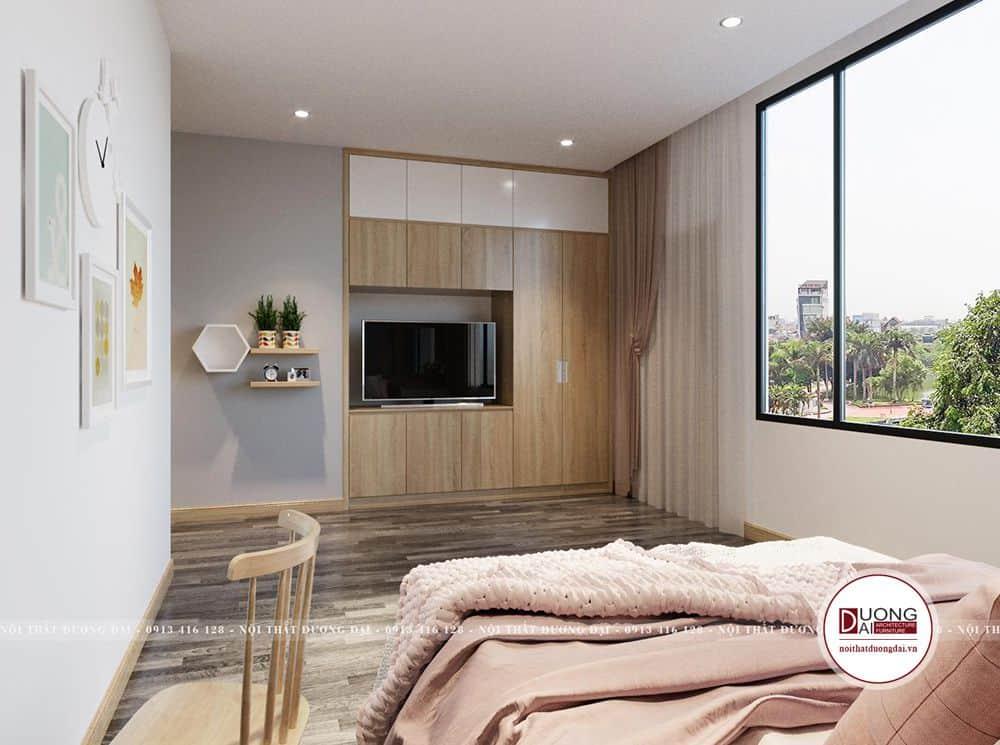 Hệ tủ âm tường tiết kiệm diện tích cho căn phòng.