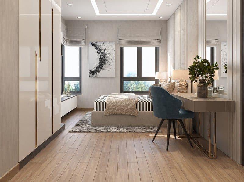 Sàn gỗ mang lại cảm giác ấm cúng cho căn phòng.