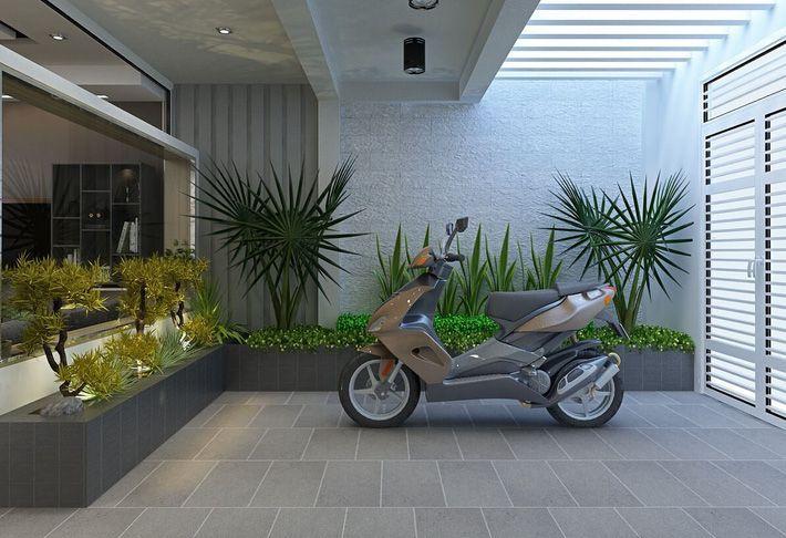 Khu vực để xe máy được bố trí ngay phía trước nhà.