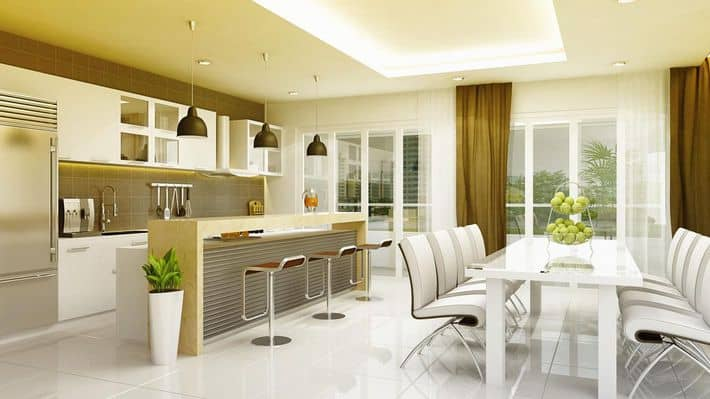 Phòng bếp - ăn thiết kế nhỏ gọn, hiện đại với đầy đủ đồ nội thất tiện nghi.
