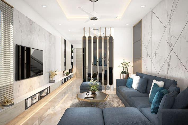Phòng khách thiết kế hiện đại, tinh tế với những món đồ nội thất cơ bản.
