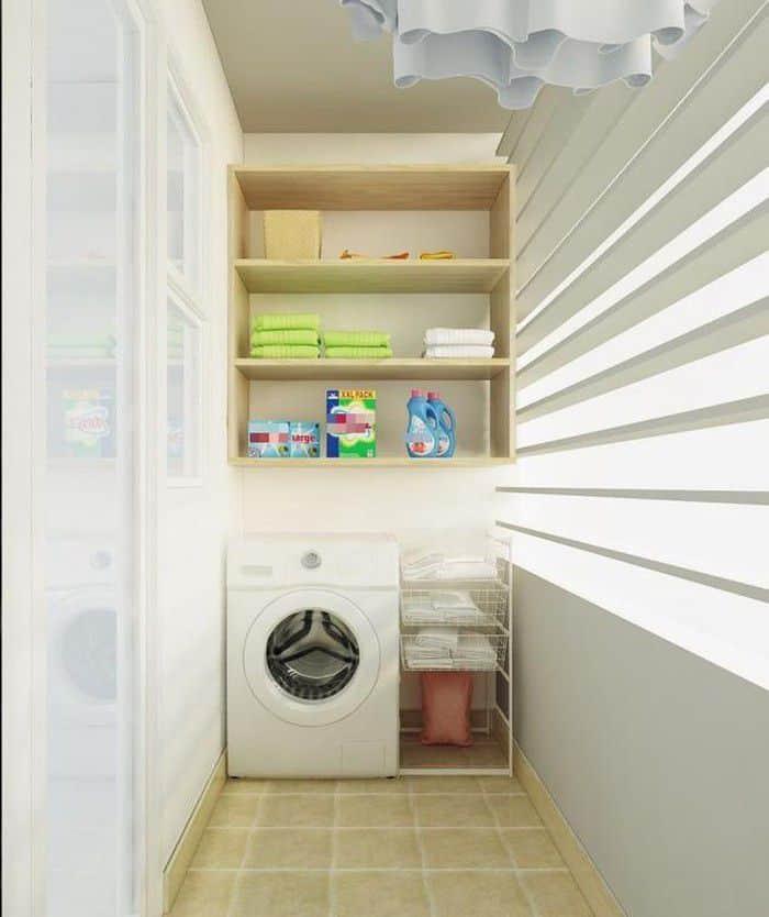 Phòng giặt nhỏ gọn tiện nghi.