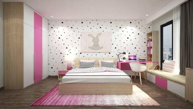 Phòng ngủ con gái với gam màu tươi sáng, năng động.