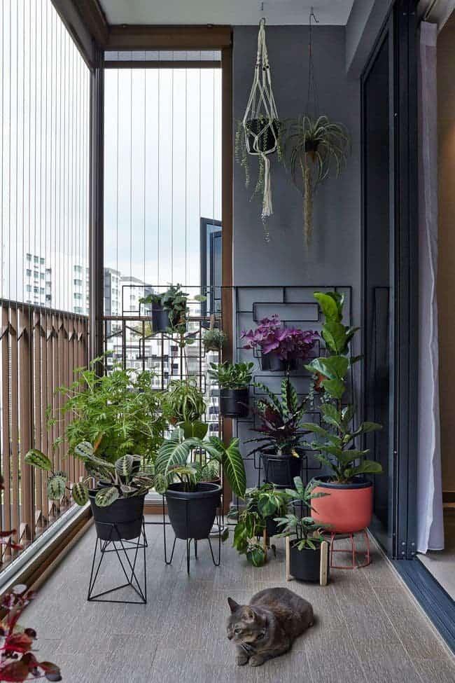 Ban công được tận dụng làm chỗ trồng cây xanh tạo góc thư giãn cho mọi người.
