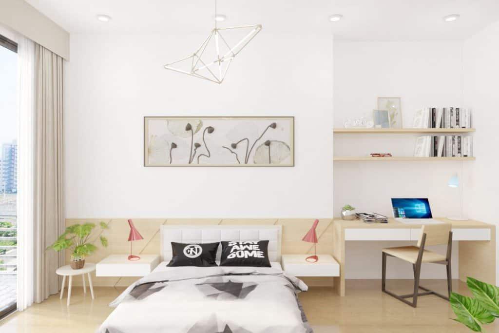 Hệ thống lưu trữ trong phòng chủ yếu là các kệ, bàn gắn tường vừa tiện dụng, vừa tiết kiệm không gian.