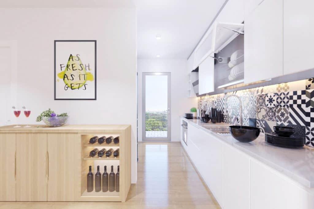 Phần đảo bếp vướng víu đã được phá bỏ cho phép người nội trợ dễ dàng di chuyển, thao tác trong bếp.