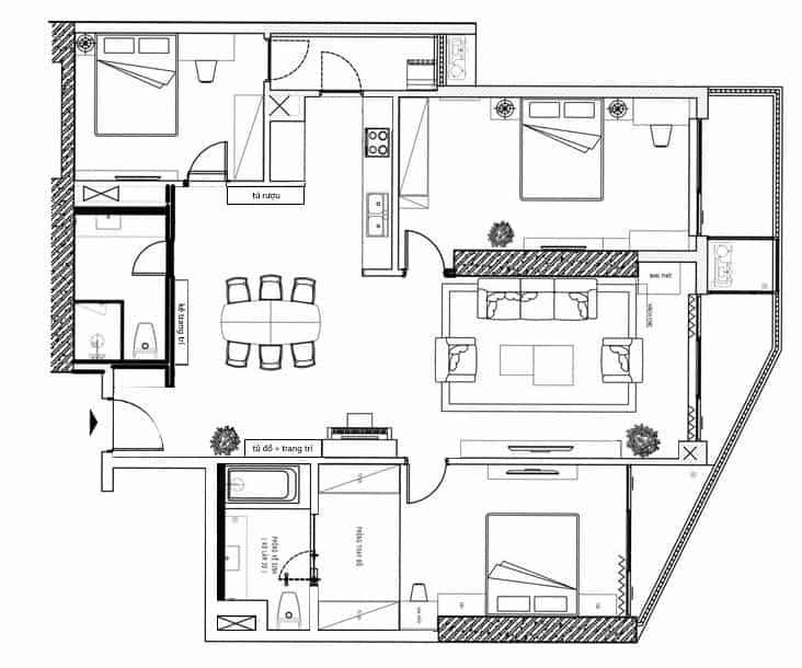 Phương án thiết kế được KTS đưa ra theo mặt bằng công năng căn hộ.