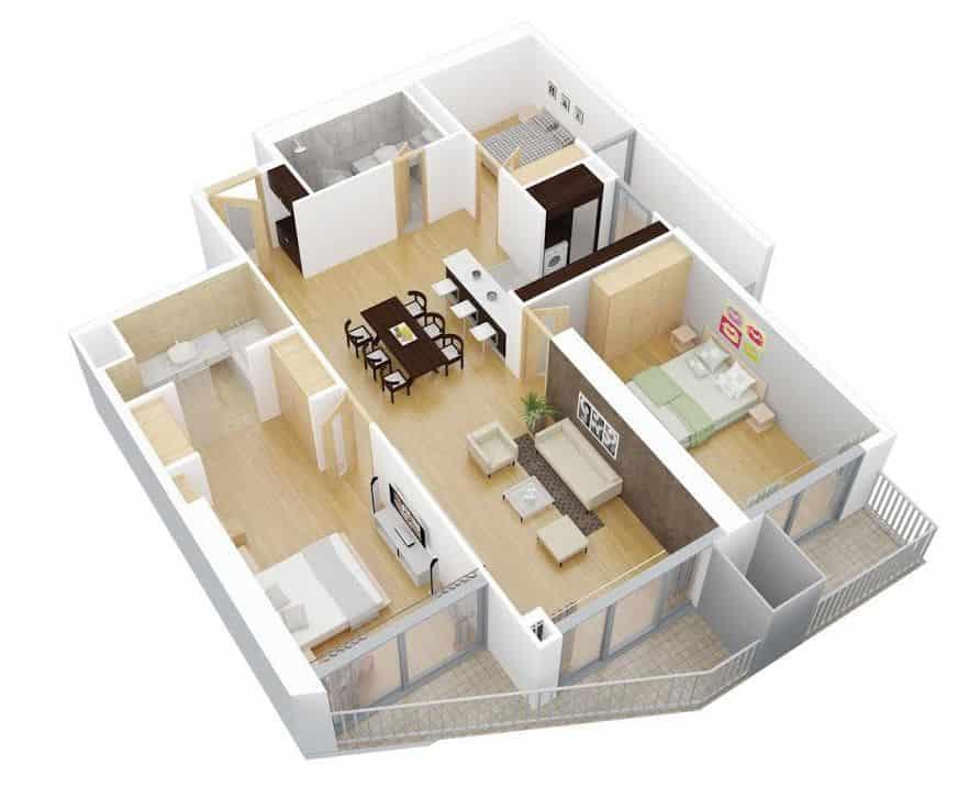Mặt bằng công năng căn hộ ban đầu của Chủ đầu tư.