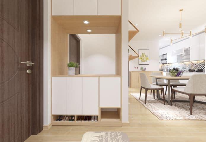Nội thất trong nhà có dạng hình học đơn giản, gọn gàng nhưng vẫn đảm bảo tính thoải mái về công năng.