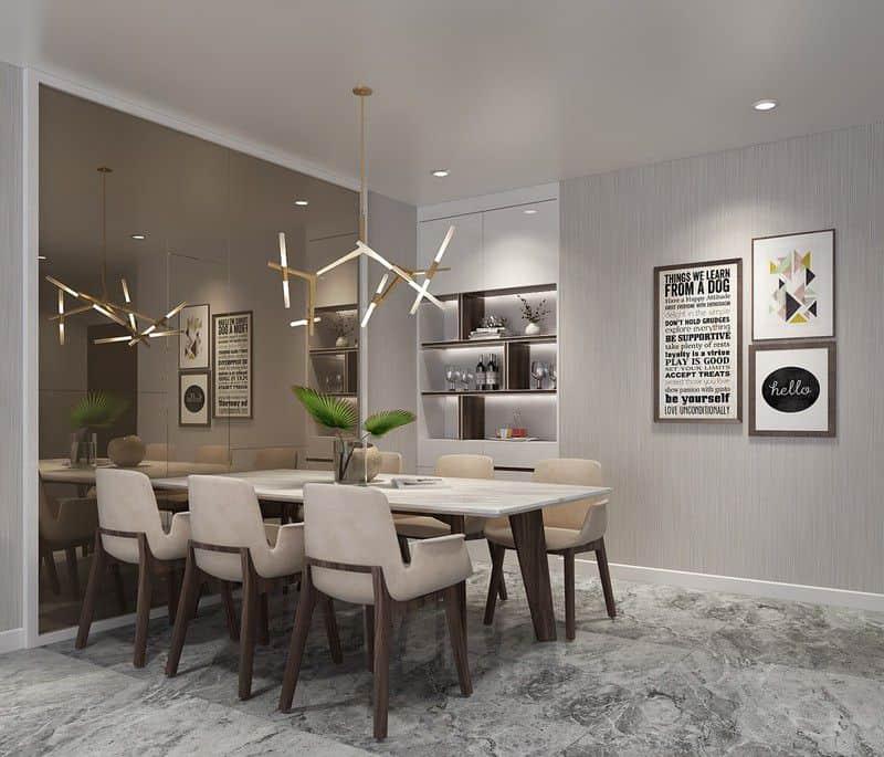 Bên cạnh phòng khách bộ bàn ghế ăn bọc nệm phục vụ nhu cầu ăn uống hàng ngày. Khu vực chức năng này được ưu tiên sử dụng nội thất màu gỗ, ghi, xám và trắng.