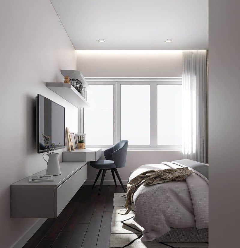 Chủ nhà có thể để ánh sáng tràn ngập trong phòng nhờ lớp tường kính.