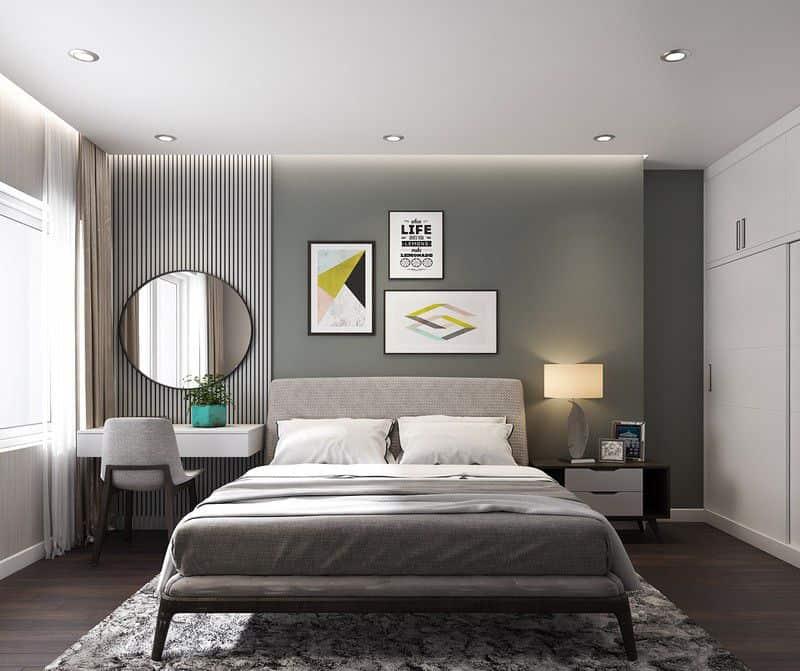 Phòng ngủ chính đẹp nền nã nhờ lựa chọn màu sắc khéo léo.