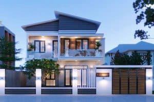 Mẫu thiết kế nhà mái lệch sang trọng