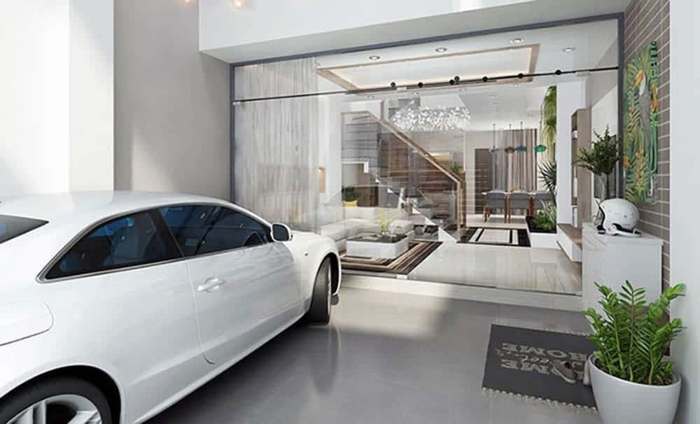 Thiết kế nhà ống có gara ô tô thông phòng khách