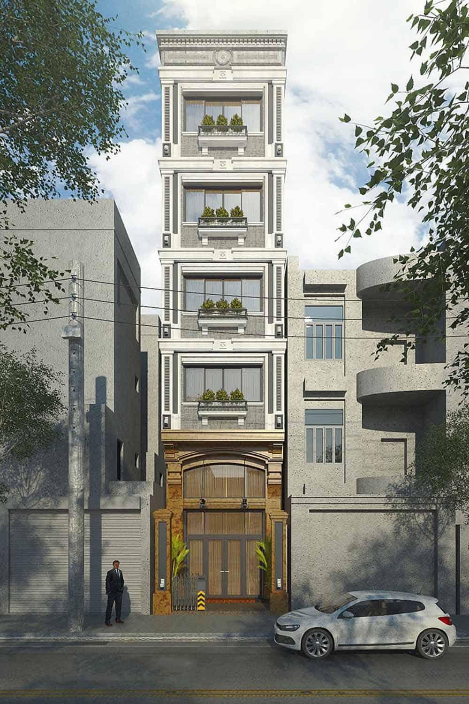 Mẫu thiết kế nhà ống 5 tầng hiện đại phong cách Pháp