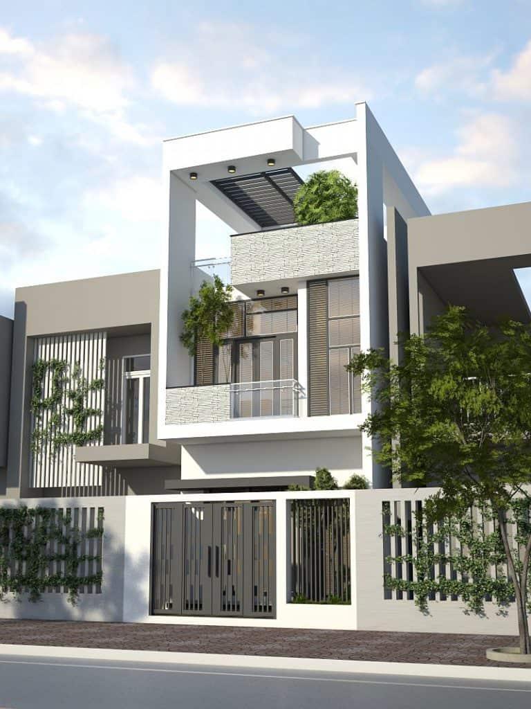 Kiến trúc sư thiết kế ngoại thất cho ngôi nhà theo hướng sang trọng và hiện đại.