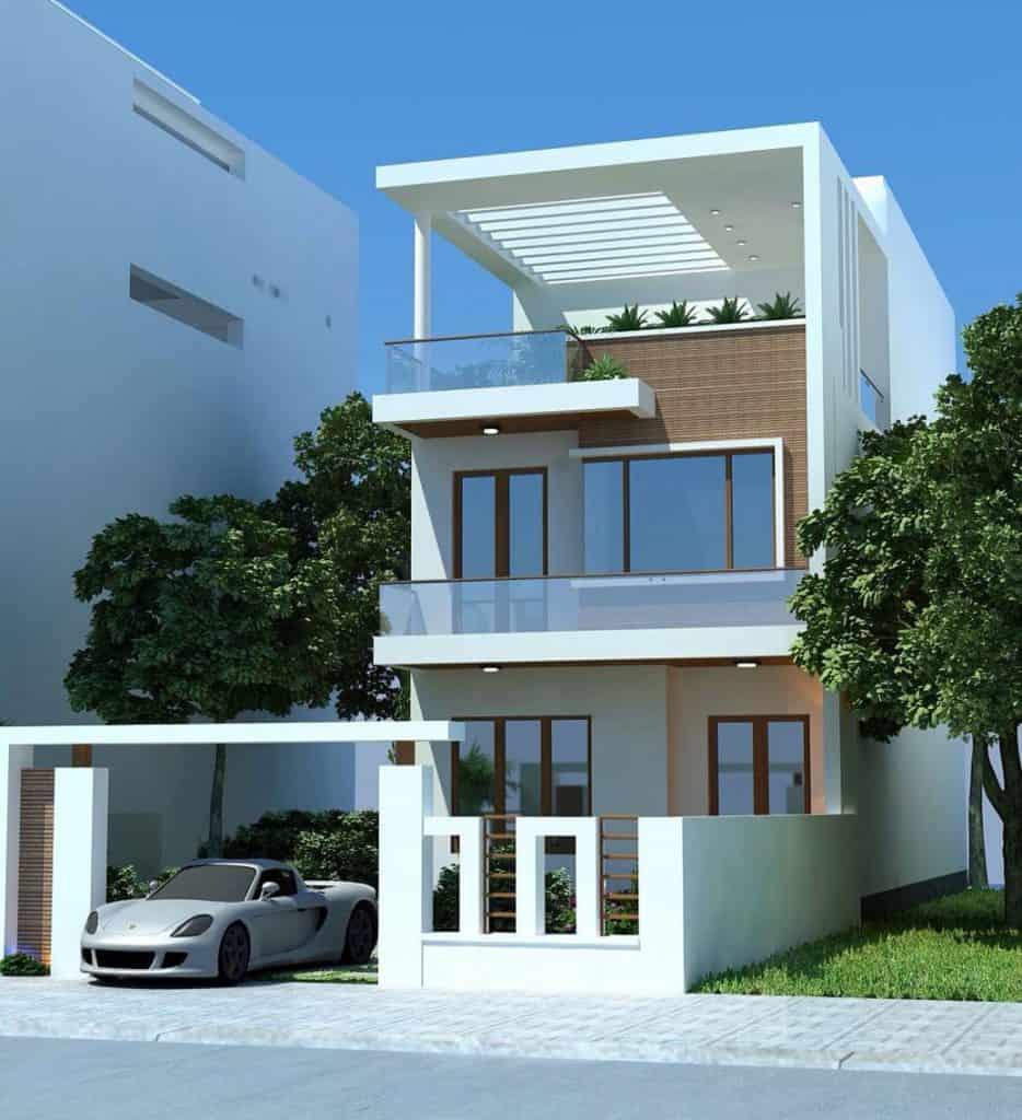 Phối cảnh kiến trúc tầng 1 và tầng 2 thiết kế chủ đạo với vật liệu mới