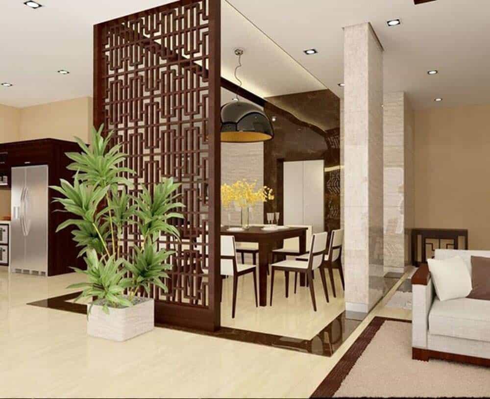 Phòng khách và phòng ăn đơn giản trang nhã