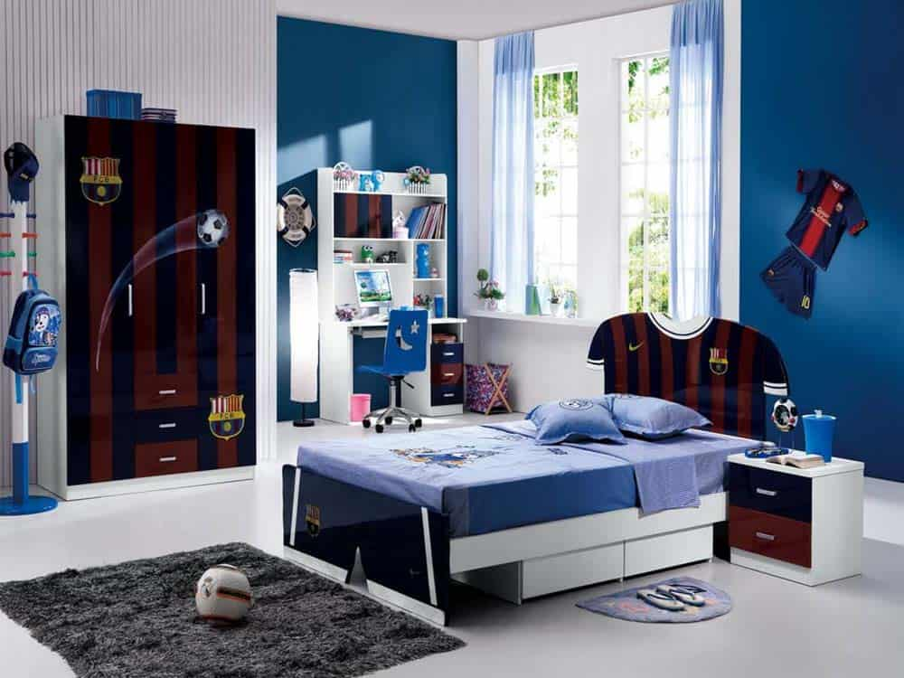 Phòng ngủ cho bé trai tinh nghịch có màu xanh dương