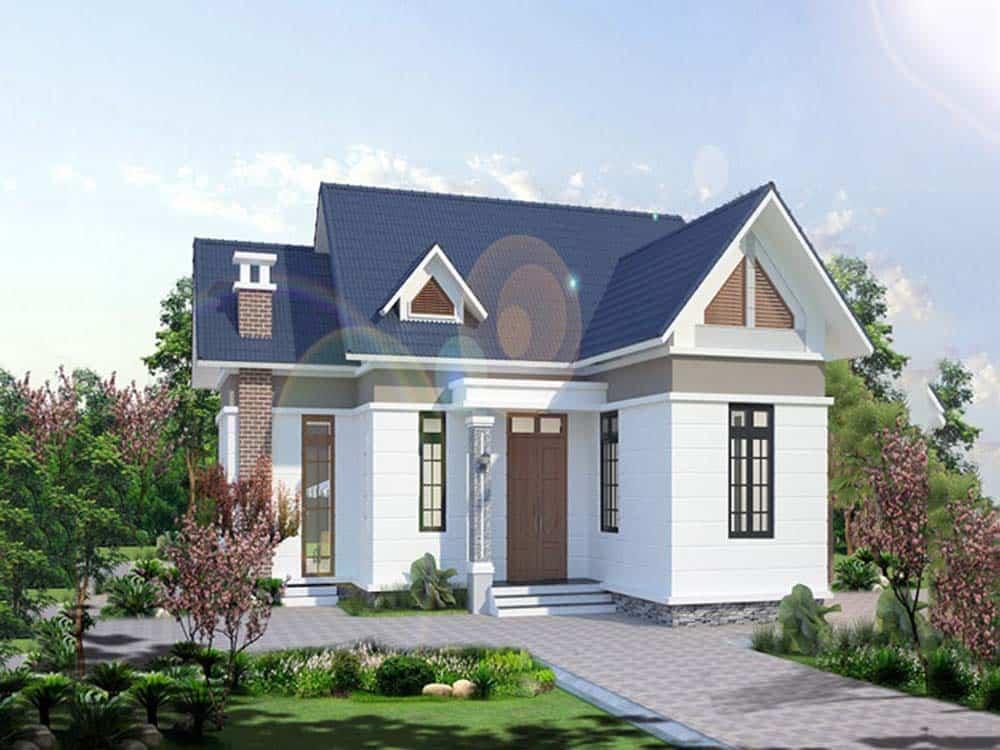 Thiết kế nhà nông thôn mái giật cấp giá rẻ