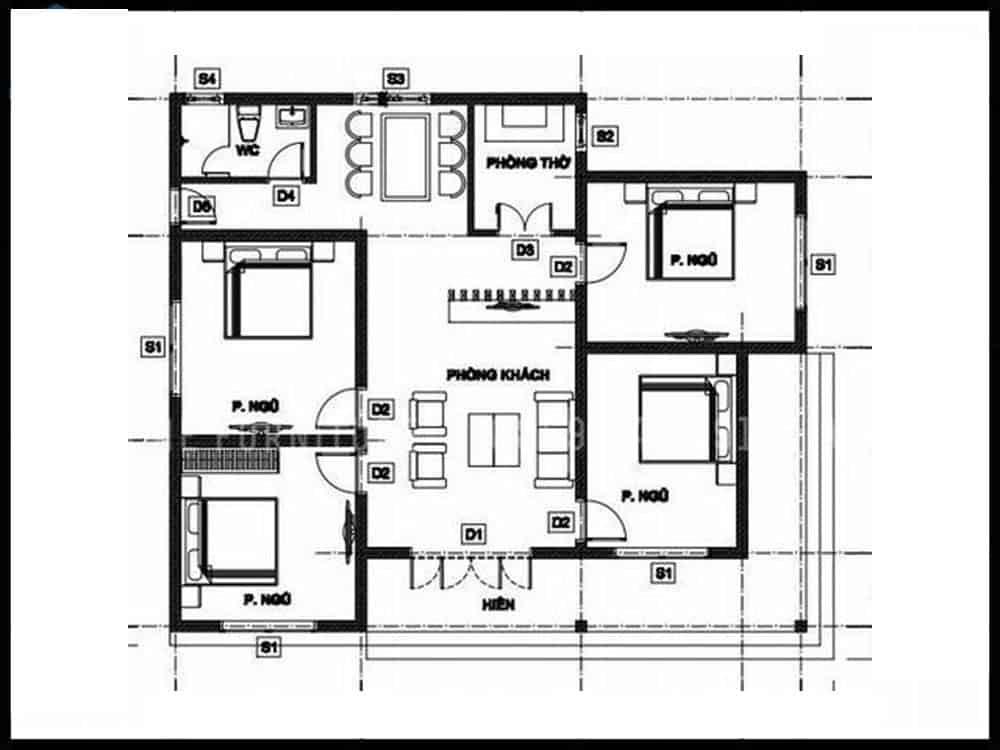 Mặt bằng công năng của căn hộ 100m2