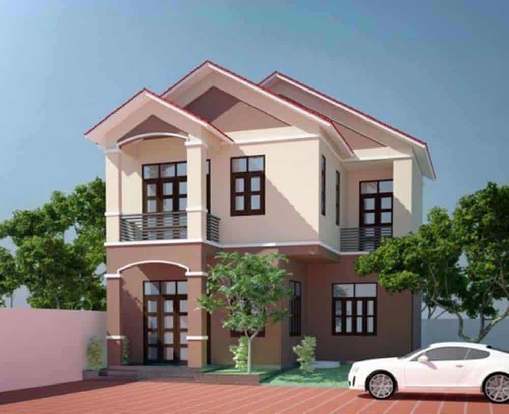 Kiến trúc nhà mái thái 2 tầng có tính thẩm mỹ cao