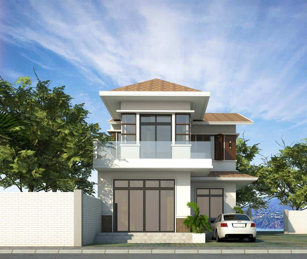 Thiết kế nhà mái thái chữ L đẹp