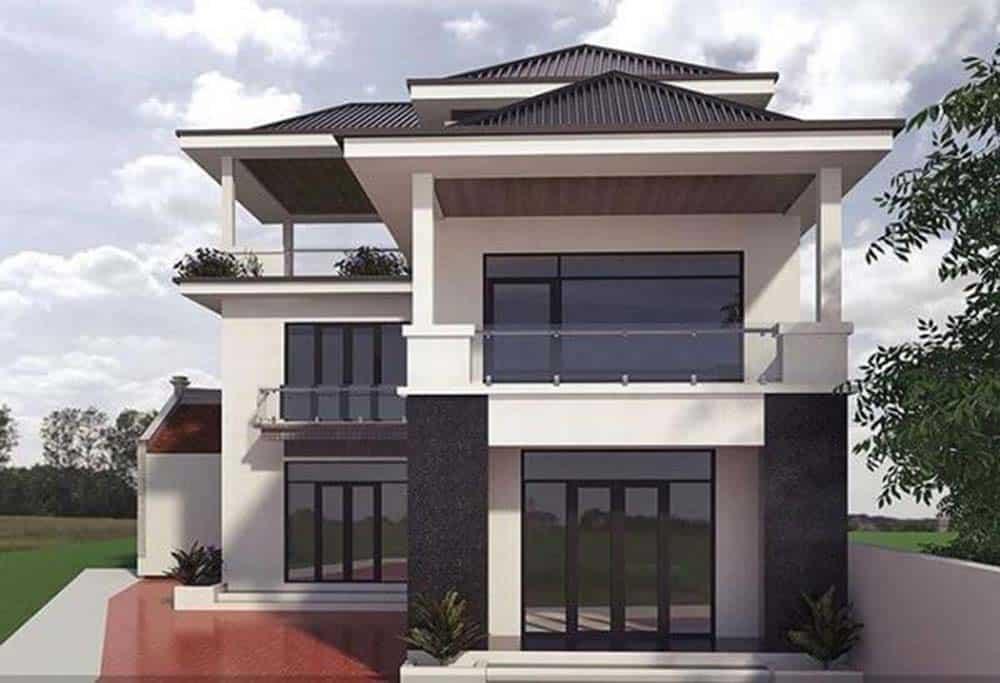 Thiết kế nhà mái thái 2 tầng sang trọng và uy nghi