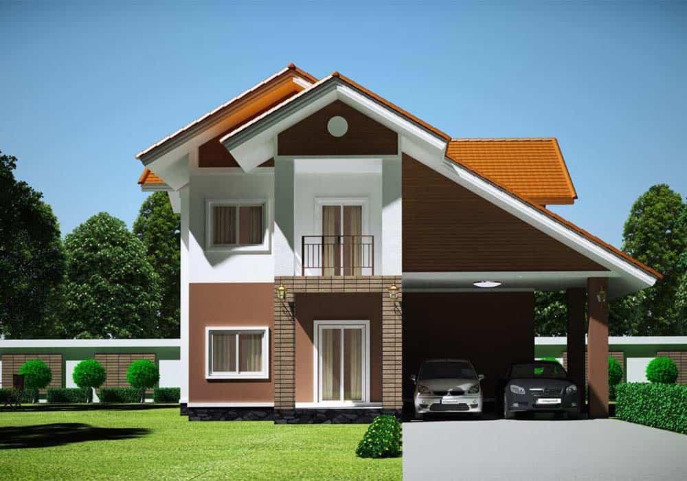 Mẫu thiết kế nhà mái thái lệch